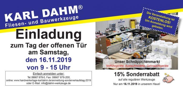 Einladung zum KARL DAHM Sonderverkaufstag 2019 in Seebruck am Chiemsee